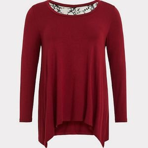 Torrid Super Soft red lace inset tee